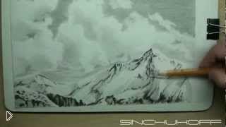 Смотреть онлайн Как поэтапно нарисовать пейзаж гор зимой карандашом