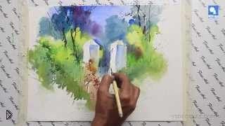 Смотреть онлайн Как научиться поэтапно рисовать пейзаж акварелью