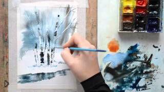 Смотреть онлайн Рисуем акварелью зимний пейзаж для начинающих