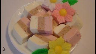 Смотреть онлайн Трехцветное суфле из сметаны и желатина