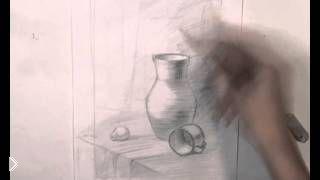 Смотреть онлайн Как поэтапно нарисовать натюрморт с вазой карандашом