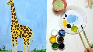 Смотреть онлайн Как поэтапно легко нарисовать жирафа для детей
