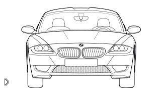 Смотреть онлайн Как поэтапно нарисовать машину БМВ карандашом