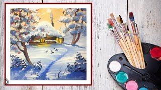 Смотреть онлайн Как нарисовать пейзаж зимы гуашью поэтапно