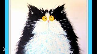 Смотреть онлайн Как поэтапно нарисовать забавного кота красками