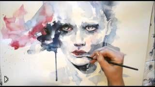 Смотреть онлайн Урок как поэтапно нарисовать портрет акварелью