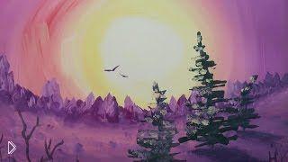 Смотреть онлайн Как нарисовать красивый закат Солнца красками