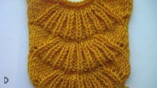 Смотреть онлайн Схема вязание узора павлиний хвост спицами