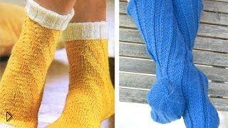 Смотреть онлайн Как вязать шерстяные спиральные носки без пятки