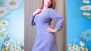 Смотреть онлайн Описание как вязать красивое платье спицами со схемой
