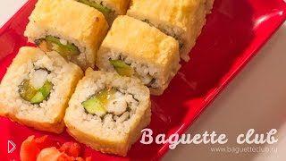 Смотреть онлайн Рецепт горячих роллов темпура в кляре с креветкой