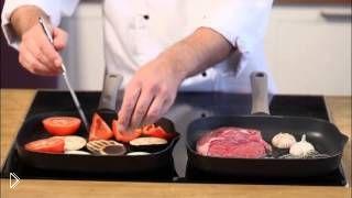 Смотреть онлайн Рецепт овощей и стейка рибай на гриле