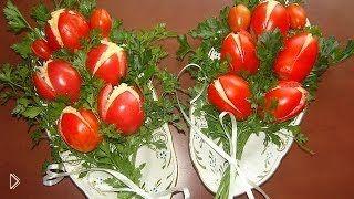 Смотреть онлайн Рецепт салата «Букет тюльпанов» из помидоров