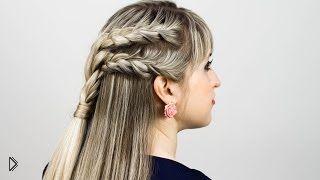 Как убрать волосы от лица с помощью косичек - Видео онлайн