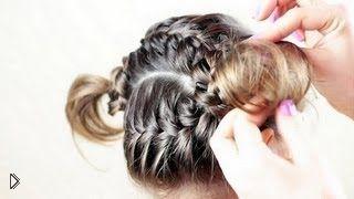 Смотреть онлайн Прическа из двух французских кос для девочки
