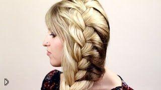 Смотреть онлайн Плетение легкой французской косы на одну сторону