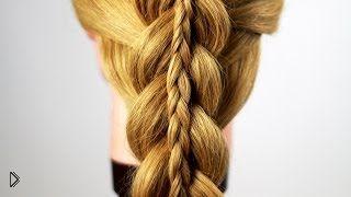 Смотреть онлайн Необычная прическа коса в косе, обучение плетению