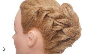 Смотреть онлайн Объемная прическа из двух кос из жгутиков