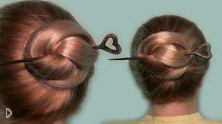 Смотреть онлайн Легкая прическа с палочкой для волос