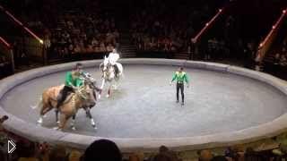 Смотреть онлайн Туркменский цирк, выступление на лошадях