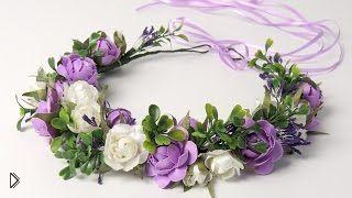 Украшение на голову: плетем венок искусственных цветов - Видео онлайн