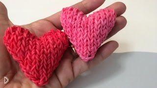 Смотреть онлайн Урок плетения сердца 3D из резиночек rainbow loom