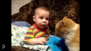 Кот пытается уложить спать ребенка - Видео онлайн