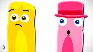 Смотреть онлайн Учим цвета розовый и желтый, мультик раскраска