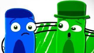 Смотреть онлайн Учим цвета: синий и зеленый, развивающий мультик