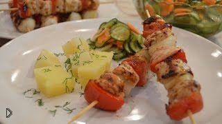 Куриный шашлычок с овощами на сковороде гриль - Видео онлайн