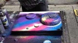 Художник рисует офигенную картину баллончиками - Видео онлайн