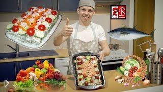 Смотреть онлайн Торт из бутербрдов с тунцом, просто и вкусно