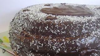 Смотреть онлайн Готовим бисквитный двухцветный тортик