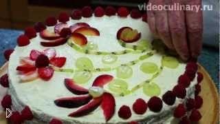 Смотреть онлайн Вкусный торт с творожным кремом, готовим дома