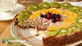 Смотреть онлайн Торт для сыроедов, кокосовый торт без сахара