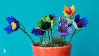 Смотреть онлайн Цветы из коробочки из-под яиц, поделки с ребенком