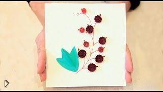 Смотреть онлайн Самая простая открытка по технике квиллинг, для детей