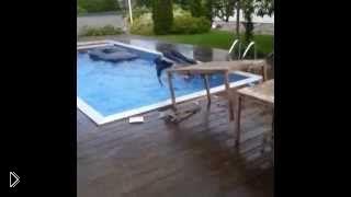 Смотреть онлайн Парень прыгнул в воду вместе с помостом