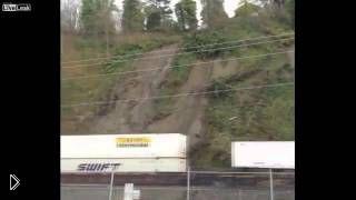 Смотреть онлайн Вибрация от поезда вызвала обрушение оползня
