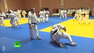 Смотреть онлайн Тренировка Путина и сборной России по дзюдо