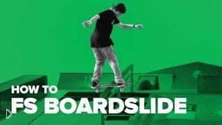 Смотреть онлайн Учимся трюку fs boardslide на скейте
