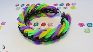 Смотреть онлайн Красивый простой браслет, плетение на вилках