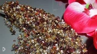 Смотреть онлайн Урок плетения воздушного колье из бисера