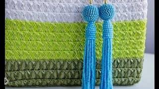 Смотреть онлайн Плетем длинные серьги-кисточки из бисера