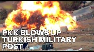 Смотреть онлайн Террорист взрывает грузовик вместе с собой на турецкой базе