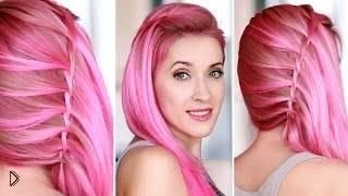 Смотреть онлайн Украшаем распушенные волосы косой водопад