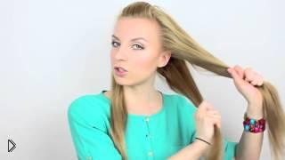 Смотреть онлайн Простая прическа в школу самой себе, длинные волосы