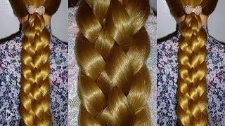 Смотреть онлайн Как сделать широкую косу на длинных волосах