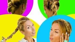 Смотреть онлайн 4 повседневные прически с плетением колоска