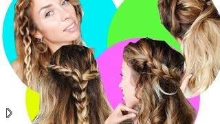 Смотреть онлайн 4 простых прически для длинных и средних волос